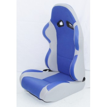 2 PCS Universal Racing Seats Fabric Reclinable BLUE/GRAY