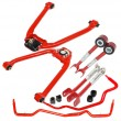 2003-2009 Nissan 350Z F amp;R Camber Kit +Rear Toe Arm+F amp;R Swaybars Red Color