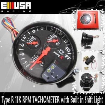 """5"""" 4 in 1 BLACK Tachometer w/ OT WT OP Tach Shift LT.* 11K RPM Type R"""