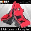 2PCS Universal Racing Seats Fabric RED/BLACK