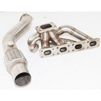 """SS Turbo Manifold Header w/3"""" Downpipe for 92-96 BMW E26 M42 318i 318is 318ti"""