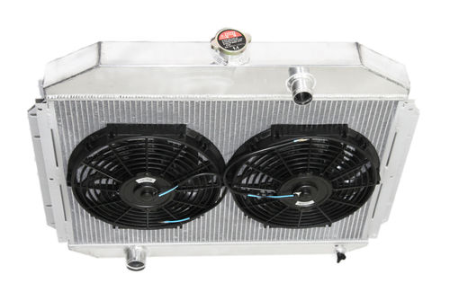 """3 Row Aluminum Racing Radiator+12/"""" Fans for 61-64 Ford F-100 F-250 F-350 V8"""