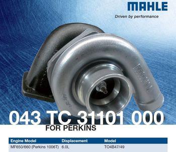 MAHLE  043 TC 31101 000 Turbo for Perkins 1006T MF650/660 2674A166 6.0L  166658