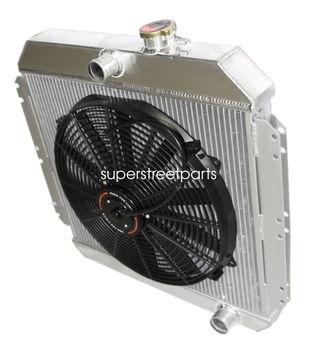 "Aluminum Tri Core 3-Row Radiator+16"" Fan for 49-52 Chevy Styleline V8 MT"