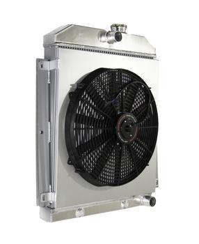 "3 Core Radiator+16"" Fan+Shroud for 47-54 Chevy Pickup I6 3100 3600 3800"