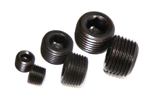 """BLACK 1//8/"""" NPT Steel Engine Block Intake Manifold Plug"""