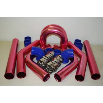 "3"" Universal Intercooler Piping Kit Aluminum Blue Coupler 8pcs (The color is Aluminum Blue Coupler , not like the picture as pink)"
