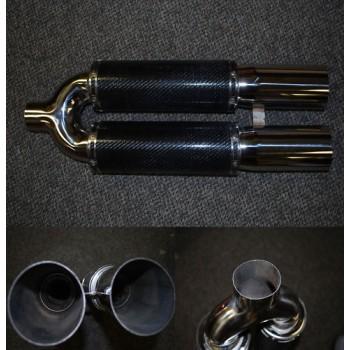 "Universal 3.5"" Dual Tip Carbon Fiber Muffler 2.5 inlet"