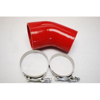 """Silicone Reducer hose 45° 2.5""""-3"""" COUPLER red+clamp"""