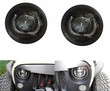 Lantsun 7 Inch 55w High Low Beam HID Xenon Projection Headlight Kit with LED DRL Halo Angel Eye for 1997 - 2016 Jeep Wrangler (1 Pair) Lantsun-J021
